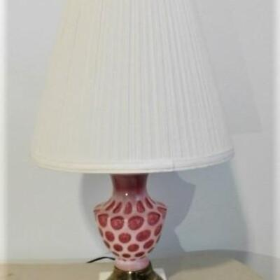 Vintage Fenton Coin Dot Glass Post Lamp with Marble Base
