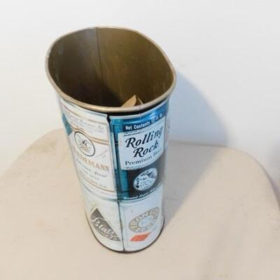 Vintage Tin Old Style Local Brew Brand Waste Can