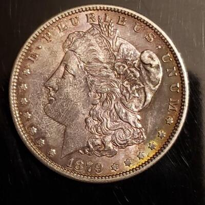 1879  S Gold toned morgan silver dollar .Very beautiful details ..