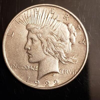 1922  Peace dollar Decent coin not much ware
