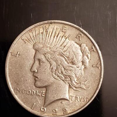1922 Peace dollar silver  Fair coin