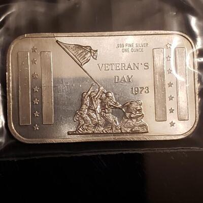 1 oz 1973 vintage silver bar Very rare Veterans Day 1973