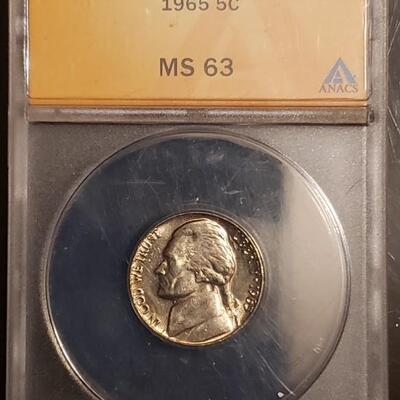 Graded nickle vintage grade ms 63 1965