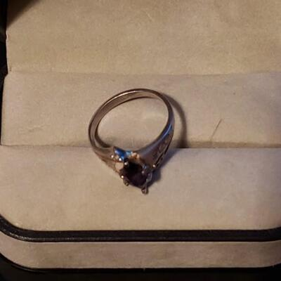 Sterling silver ring Sapphire and diamonds.Very beautiful vintage with real stones and silver