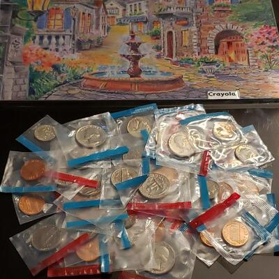 Lot of 1970,s uncirculated mint coins  1 pound unsearched all in mint packaging 50 c to 1 c aproxx 70 coins