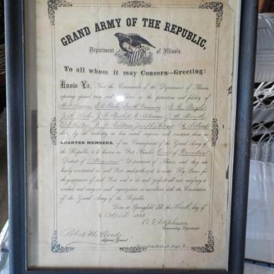 1866 G Illinois Grand Army Contract to serve.