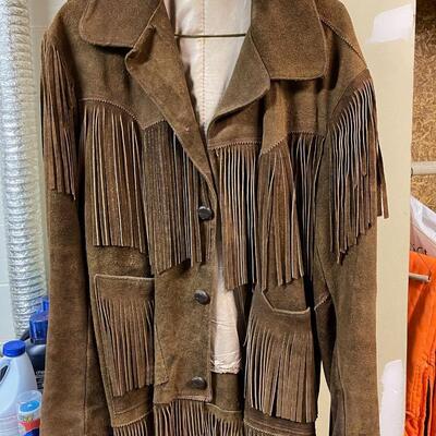 Leather jacket / Unisex / embellished with tassels
