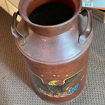 Large painted milk can