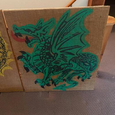 Framed Dragon Painting on Charvin Jute