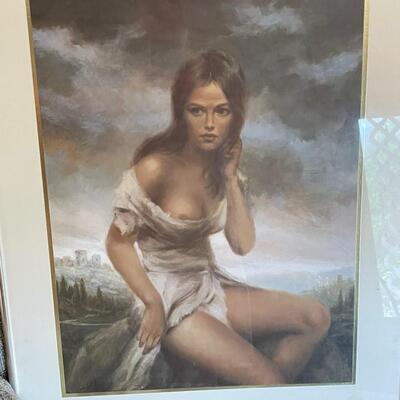 Unframed artwork of woman