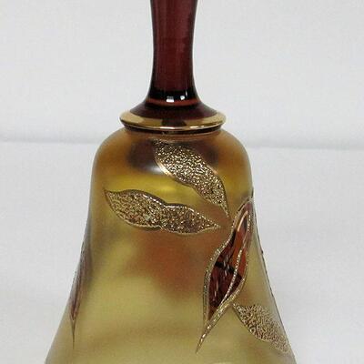 Beautiful Bohemian Amber/Gold Glass Bell Daffodil Pattern