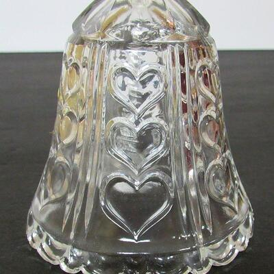 Vintage Lead Crystal Clear Bell Wtih Hearts Pattern, Anna Hutte, West Germany, Bleikristall