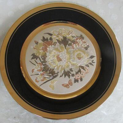 1985 Ltd Ed #2674/9500 Chokin Plate, Naohisa Hori, Floral Pattern, Jean Claude Int, Japan