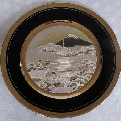 1985 Ltd Ed #2674/9500 Chokin Plate, Pagota with Mt Fugi, Jean Claude Int, Japan