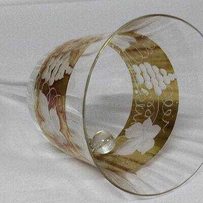 Vintage Bohemian Fancy Crystal With Gold Trim Glass Bell, Grapes Pattern