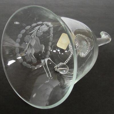 Vintage Romanian Cut Crystal Glass Bell Bird in Branch, Padurea Neagra