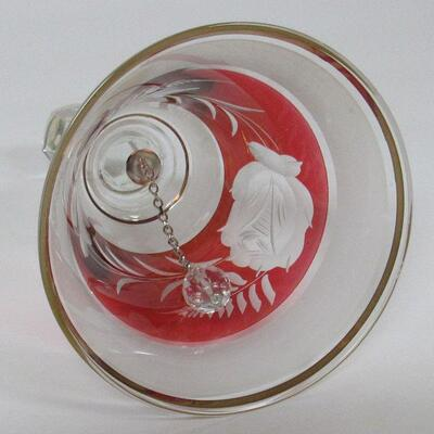 Vintage Bohemian Cut to Clear Red Glass Bell, Satin Finish, Rose Pattern