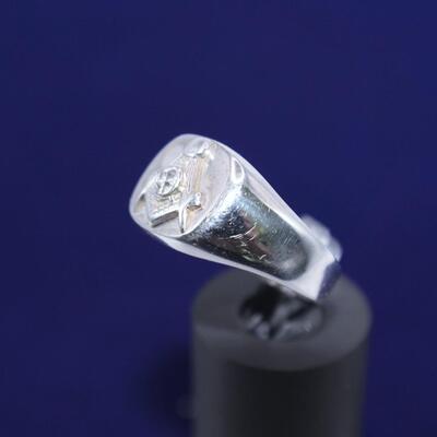 LOT#E5: 14K White Gold Masonic Ring [9.23g]