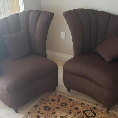 2 Art Deco Silk Purple Chairs, Right And Left, Made In Italy includes Pillows