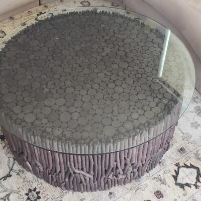 Coffee Table, Round Glass Top with Twig Wood Base, Made in South America