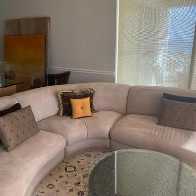 3 Piece Couch Tan Suede, Made in Italy, Includes Pillows