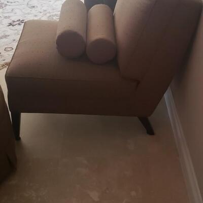 2 Tan Silk Chairs with Pillows and Ottoman