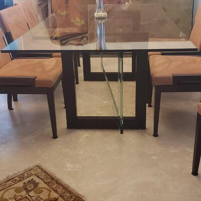 Roche Bobois Glass Dinning Table with 6 Chairs and Black Roche Bobois Buffet
