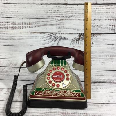 Coca-Cola Stained Glass Look Telephone