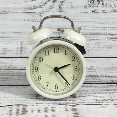 Classic White Metal Alarm Clock Battery Operated
