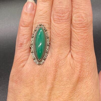 Vintage Green Turquoise Sterling Silver Southwestern Style Ring Mexico