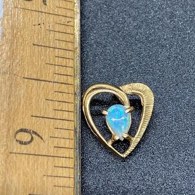 14k Yellow Gold & Opal Heart Shaped Necklace Pendant Charm