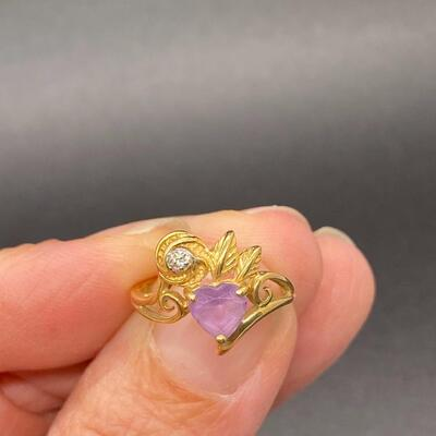 14k Yellow Gold Amethyst Heart Promise Anniversary Ring