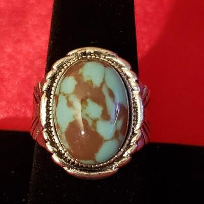 Vintage Sterling silver turquoise   Native style  ring  very heavy 181.1 g