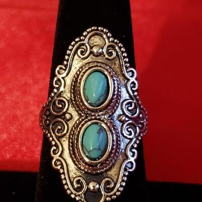 Vintage Sterling silver natural  turquoise  ring  11.2 g