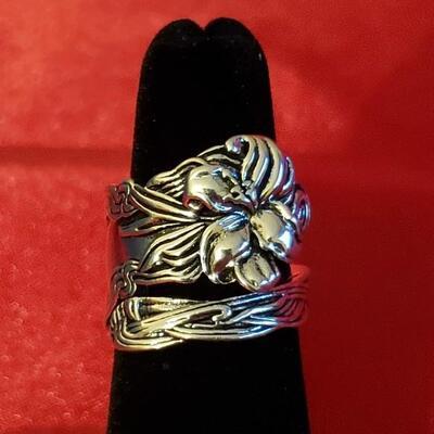 Sterling silver  vintage sterling silverware ring   13 2 g