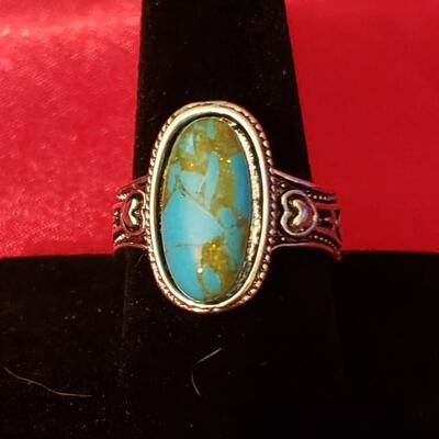Vintage Sterling silver natural turquoise ring  12 2 g