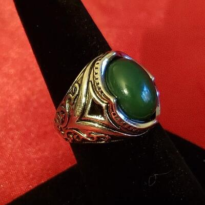 Vintage Sterling silver  Agate ring 12.2 g