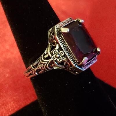 Vintage Sterling silver tourmaline  ring  12 2 g