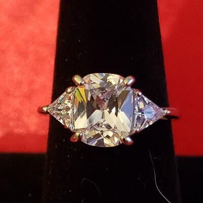 Sterling silver rose quartz  ring natural stone size 7