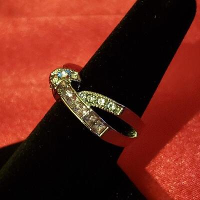Sterling silver white sapphire  ring size 8