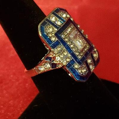 Sterling silver  white sapphire and quartz ring size 8