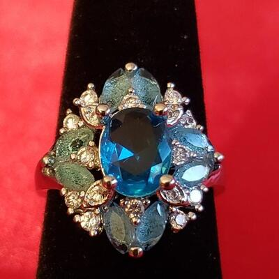 Sterling silver  tourmaline  and sapphire ring size 7