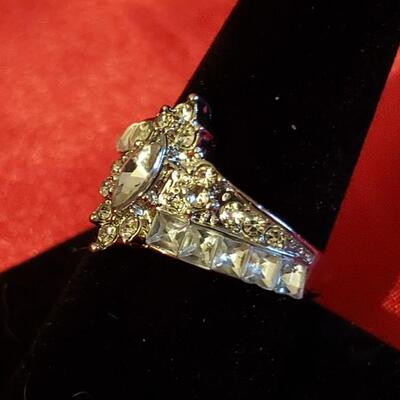 Sterling silver  white sapphire  18 k gold plate ring size 8
