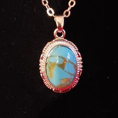 Vintage Sterling silver necklace with sterling turquoise  pendant 17.2 g