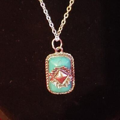 Vintage Sterling silver necklace with sterling turquoise  pendant 18 4 g