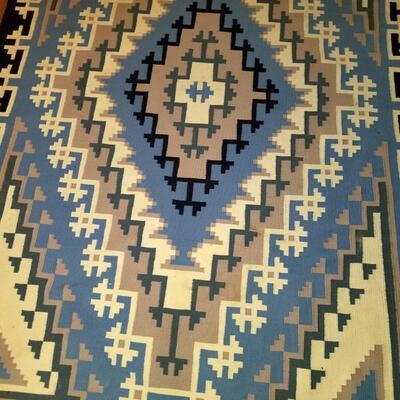 Large Navajo black, blue, ivory rug