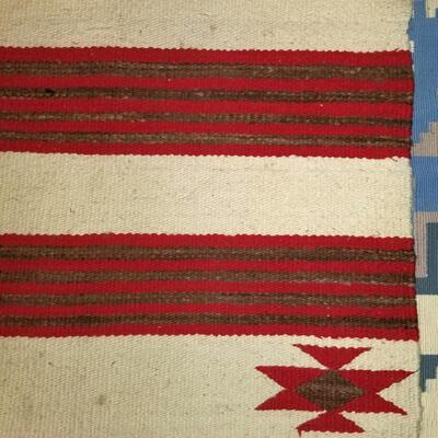 Native American Navajo ivory & red woven rug: