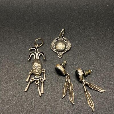 Sterling Silver Southwestern Tribal Scarab Jewelry Lot
