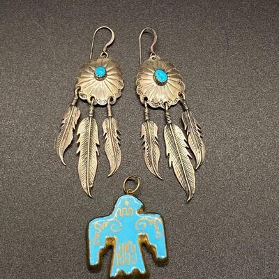 Sterling Silver Turquoise Southwestern Medallion Feather Earrings & Ceramic Bird Pendant