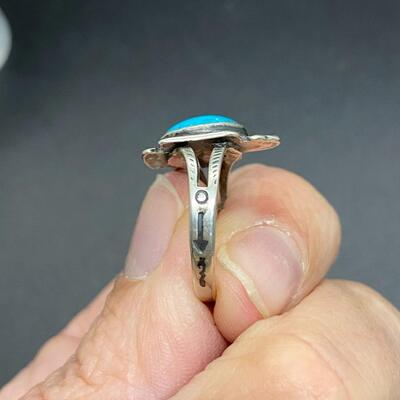 Southwestern Old Pawn Silvertone Turquoise Bird Ring